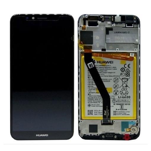Γνήσια Οθόνη LCD με Μηχανισμό Αφής και Πλαίσιο και Μπαταρία  για Huawei Y6 2018 (Service Pack) 02351WLJ - Χρώμα: Μαύρο