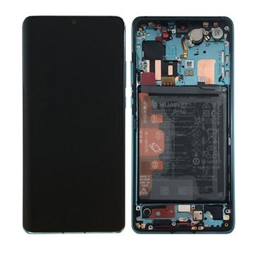 Picture of Γνήσια Οθόνη LCD με Μηχανισμό Αφής και Πλαίσιο με Μπαταρία για Huawei P30 Pro (Service Pack) 02352PGE - Χρώμα: Aurora Blue